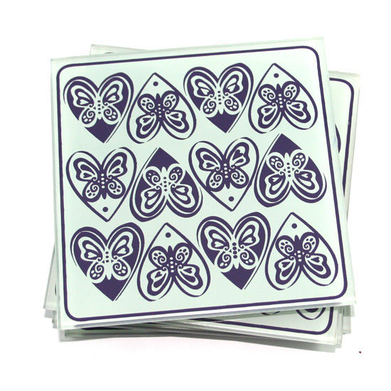 Glass Puzzle Coasters Drinks Mats x4 - butterfly