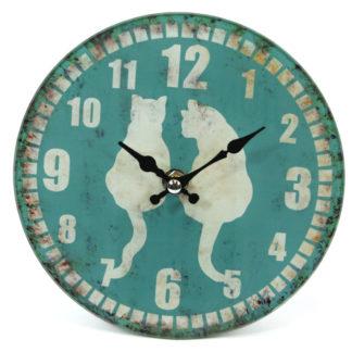 Large Glass Animal Print Design Wall Clock - shabby-cats