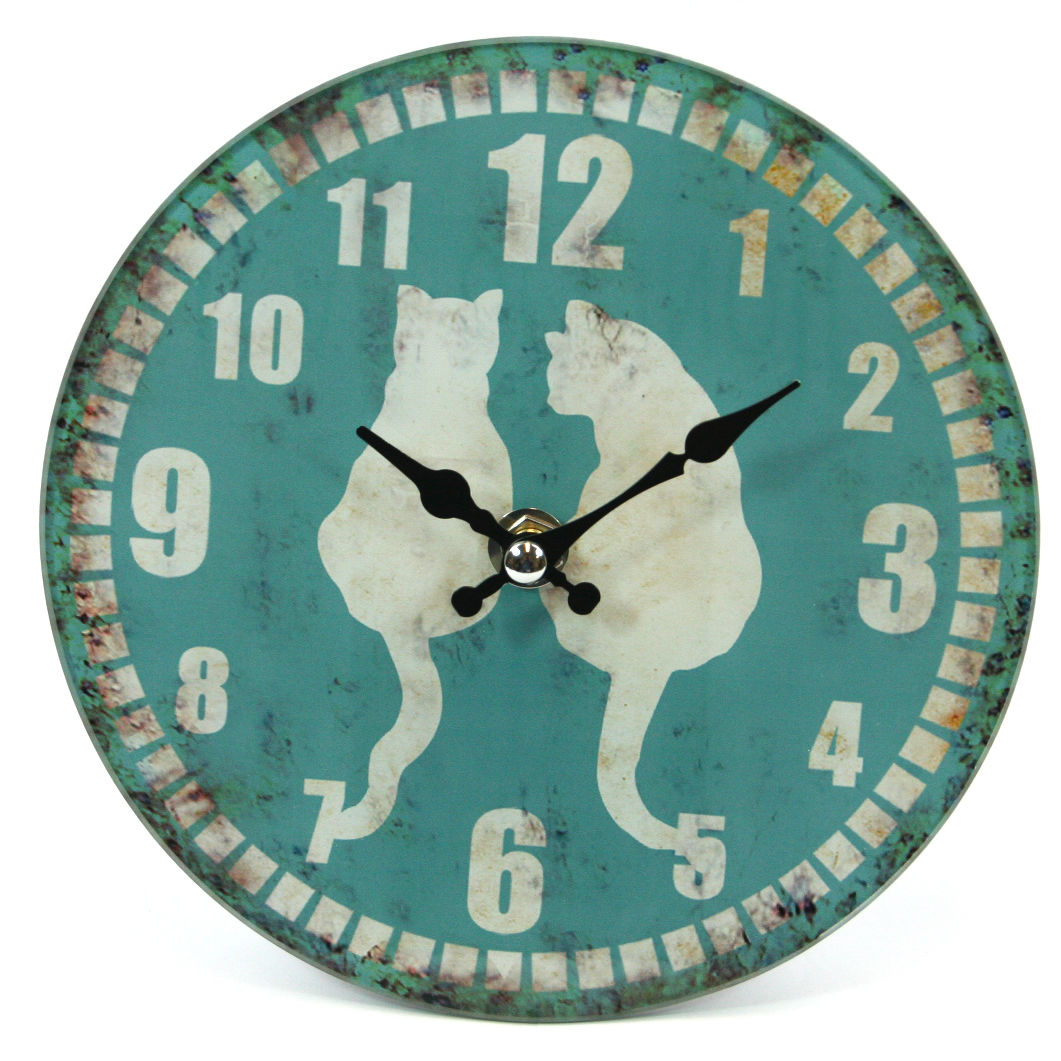 Large Glass Animal Print Design Wall Clock - shabby-cats