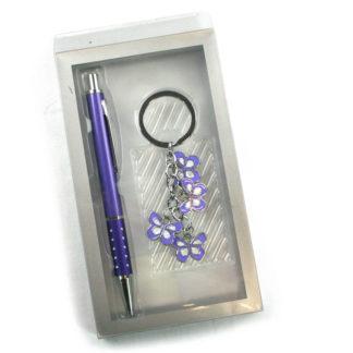 Keyring & Pen Set Various Colours & Themes - Purple Butterfly
