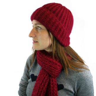 Spina Knitted Hat & Scarf Set - Red
