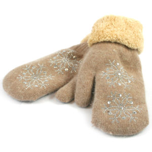Super Soft Knitted Woollen Mitten Glove with Faux Fur and Snowflake Design - taupe