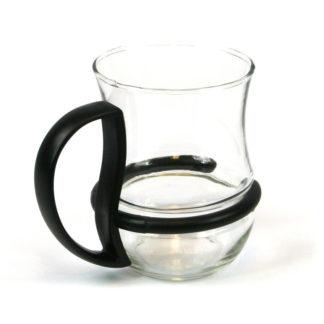 Tea Coffee Glass Mug with Coloured Detachable Handle - Black