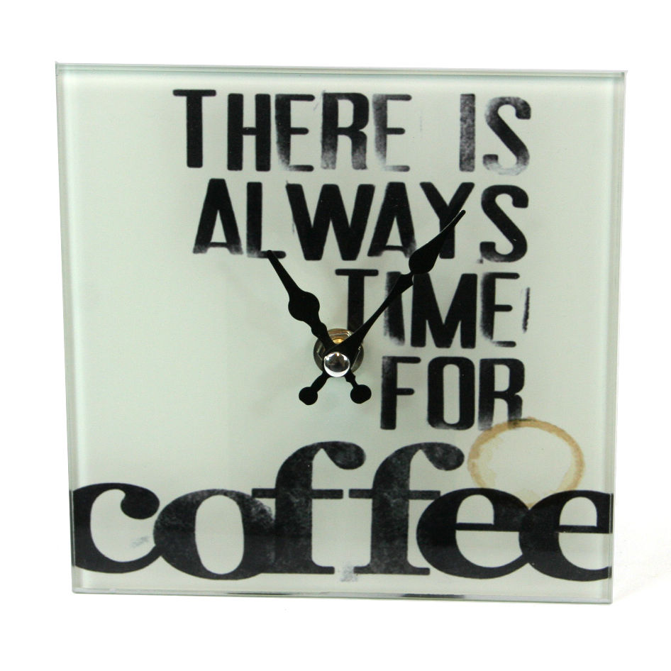 Glass Text Slogan Wall or Free Standing Clock