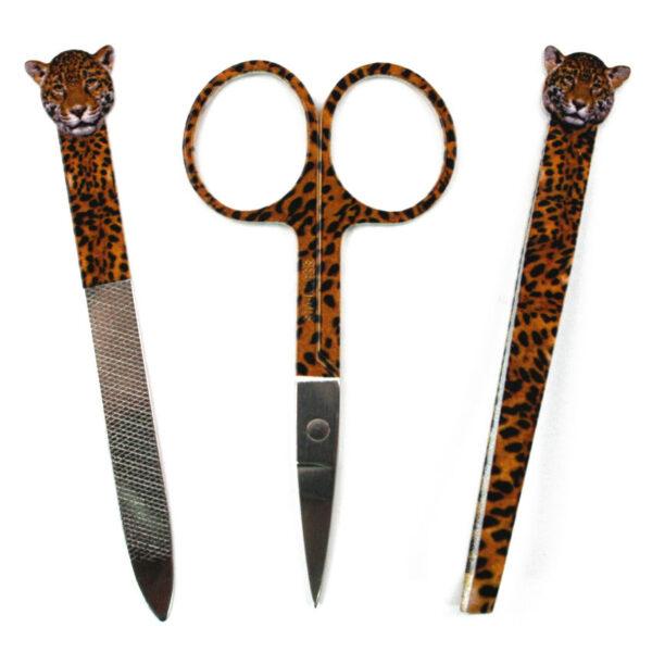 Manicure Set 3 Piece Scissors Tweezers Nailfile Wild Animal Print