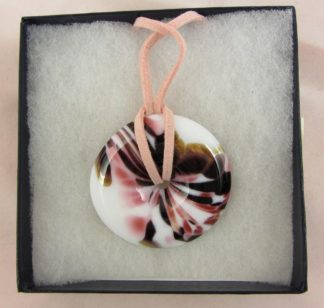 OKRA Glass Sebella Round Pendant Necklace Iridescent