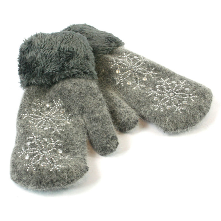 Super Soft Knitted Woollen Mitten Glove with Faux Fur and Sparkle Design