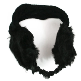 Women's Girl's Knitted & Faux Fur Ear Muffs Warmer HeadBand With Chin Strap