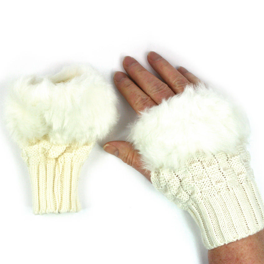 Women's Girl's Knitted & Faux Fur Fingerless Gloves Wrist Warmer