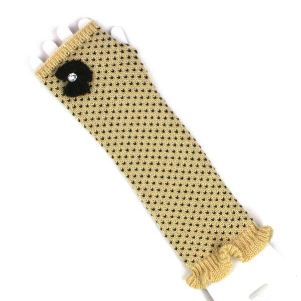 Women's Girl's Long Fingerless Knitted Gloves With Detailing