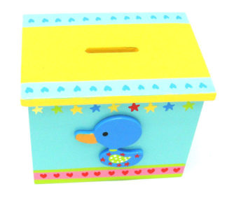 Wooden Nursery Childrens Money Box Christening Gift Lovely Bright Colours