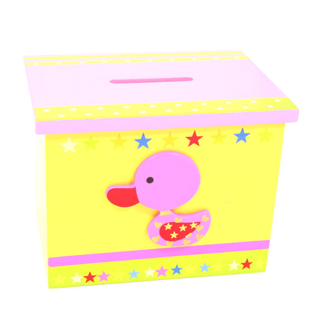 Wooden Nursery Childrens Money Box Christening Gift Lovely Bright Colours - pink-duck